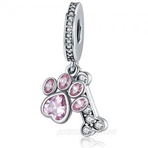 Dog Paw Charm for Charms Bracelet Pink Enamel CZ Paved Bead Charms Birthday Jewelry Gifts