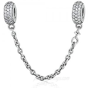 Heart Clasp Safety Chain Charm Authentic 925 Sterling Silver Clip Lock Stopper Charm Spacer Beads for Charms Bracelets (Crystal Safety Chain)