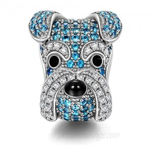 """NINAQUEEN """"Happy Family Collection: Schnauzer Knight"""" Sterling Silver Charms for Dog Lovers  Fit for Pandora Charms Bracelet  Jewelry Box included for Gift"""