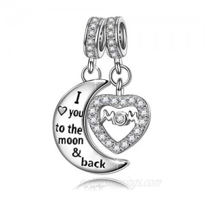 """NINAQUEEN """"Mom I love you to the moon & back"""" 925 Sterling Silver Women Dangle Charms with 5A Cubic Zirconia  Best Gift for Mom with Jewelry Box  Fit for Pandora Charms Bracelet"""