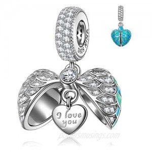 NINAQUEEN Wings of Angel 925 Sterling Silver Heart Charms for Women Engraved with I Love You Forever Fit for Pandora Charms Bracelet Jewelry Box included