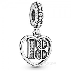 Pandora Jewelry 18 Years of Love Cubic Zirconia Charm in Sterling Silver
