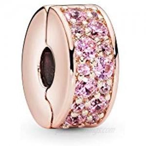 Pandora Jewelry Pink Shining Elegance Clip Cubic Zirconia Charm in Pandora Rose