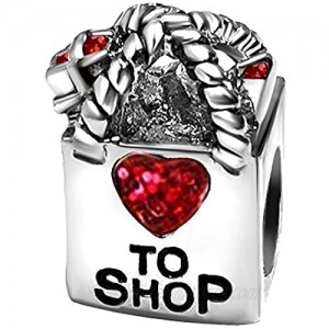 T50Jewelry To Shop Love Heart Mothers Day Red Birthstone Charms for Bracelets Wife Sister Mom Christmas Gifts