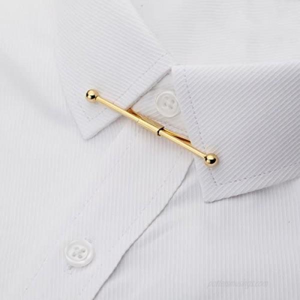 AnotherKiss Men's Silver Tone and Gold Tone Tie Collar Bar Pin Set - 4 Pcs
