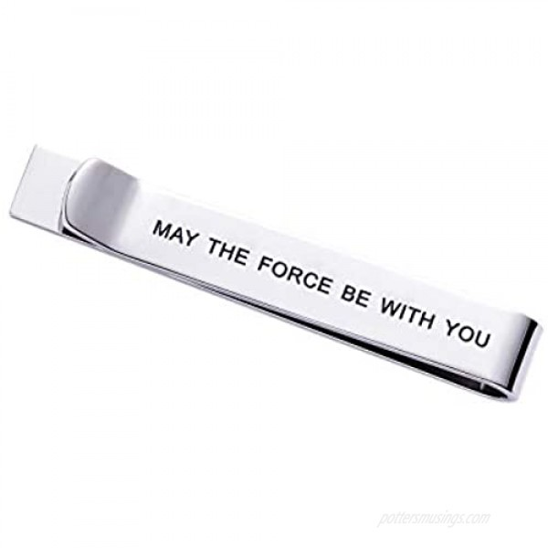 LParkin May The Force Be with You Tie Clip Star Wars Fan Gift Funny Gift Stainless Steel Polished Finish Tie Clips Men Women