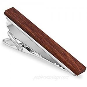 MERIT OCEAN Smart Men's Bulinga Wood Tie Clip Natural Tie Bar 2.1 Inch in Gift Box