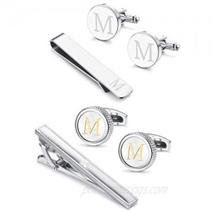 Milacolato Initial Cufflink and Tie Clips Set for Mens Engraved Alphabet Letter Business Wedding Dad Gifts with Box Package A-Z