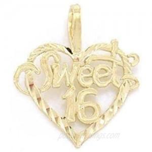 14K Gold Sweet 16 Heart Charm Diamond-Cut Jewelry 16mm