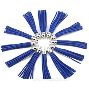 20 Silver Cap 3-1/2 Inch Faux Suede Tassel Charm with CCB Cap for Keychain Cellphone Straps Jewelry Charms DHLAS0914 (RoyalBlue)