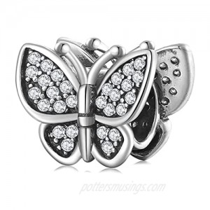 AIEGNOS 925 Sterling Silver Butterfly Animal Charm Jewelry Charms Beads Gifts for Women Girls Fit European Charms Snake Bracelet