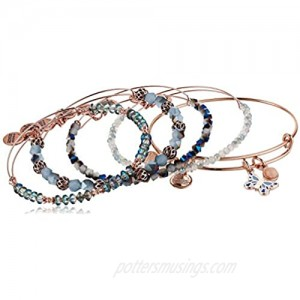 Alex and Ani Flying Butterfly Duo Charm Set of 5 SR Shiny Rose Gold