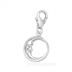 AUBE JEWELRY Hypoallergenic 925 Sterling Silver Moon Charm with Lobster Clasp for Bracelets or Necklaces