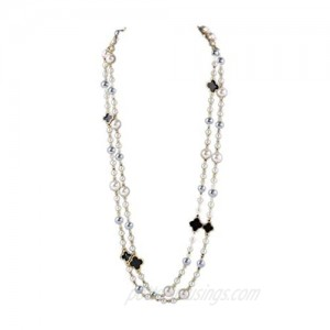 Faux Imitation Pearl and Flower Charm Neckalce