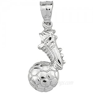 High Polished 925 Sterling Silver Soccer Ball with Shoe Charm
