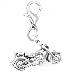 It's All About...You! Motorcycle Stainless Steel Clasp Clip on Charm 81C