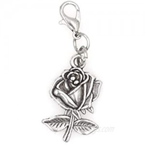 It's All About...You! Rose Clip on Charm Perfect for Necklaces and Bracelets 101R