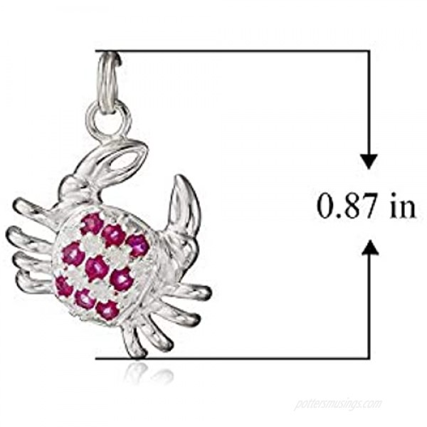 Sterling Silver Genuine Red Ruby Crab Turtle Cow and Machine Pave-Setting Clasp Drop Style Charm