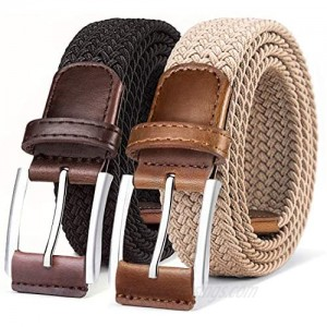 Belt for Men 2Units Woven Stretch Braided Belt Gift-boxed Golf Casual Pants Jeans Belts Width 1 3/8