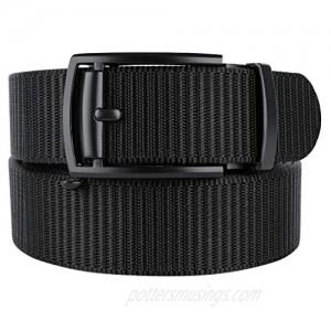 Bluecton Mens Belt Tactical Ratchet Automatic Slide Buckle Duty Nylon No Holes Cut To Fit Plus Size Black Grey