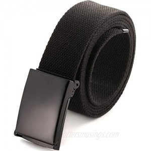 Cut To Fit Canvas Web Belt Size Up to 52 with Flip-Top Solid Black Military Buckle (16 Color and Combo Pack Options)