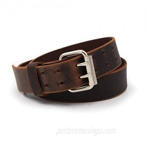 Double Down Leather Belt | Made in USA | Leather Belt for Men | Two Prong Mens Work Belt | Men's Belts Casual