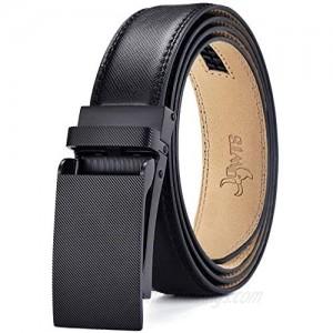 DWTS Mens Belts Real Genuine Leather Ratchet Dress Belt with Slide Click Buckle Adjustable Trim to Fit Elegant Gift Box