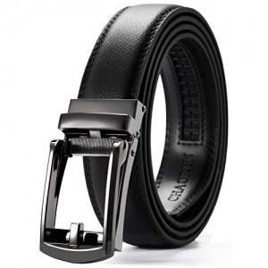 "Leather Ratchet Belt 1 1/4"" Comfort with Click Buckle  CHAOREN Dress Belt Adjustable Trim to Exact fit"