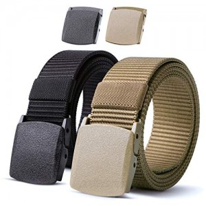 Nylon Military Tactical Men Belt 2 Pack Webbing Canvas Outdoor Web Belt with Plastic Buckle gift for Men