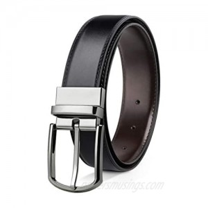 """Reversible Leather Belts For Men Big and Tall 32""""-62"""" Trim To Fit With Gift-Box"""