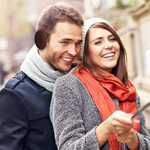 2 Pairs Bandless Ear Warmers/Earmuffs with Soft Fleece Ear Covers Winter Outdoors Men Women