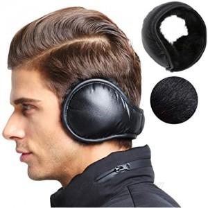 MeiLiMiYu Men's Waterproof Ear Warmers Unisex Fleece Earmuffs Adjustable Ear Muffs Behind Head  Black-water Proof  One Size