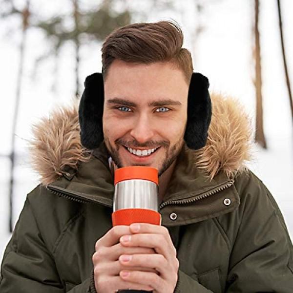 Winter Ear Muffs for Women Men Foldable Earmuffs Ear Warmers Adjustable Knit Furry Fleece Ear Covers