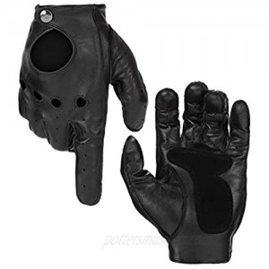 Thin Driving Gloves Men  Men Lambskin Leather Gloves  with Touchscreen Texting Function  Black